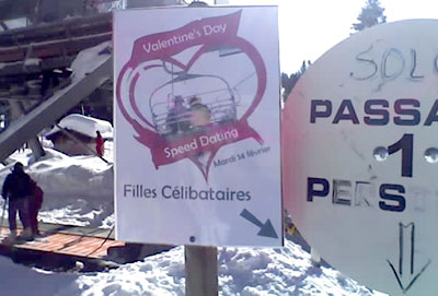 <Picture of speed dating sign at chairlift>