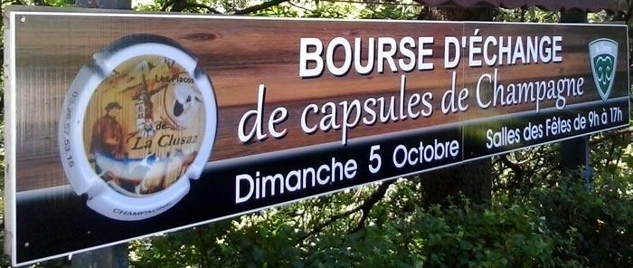 <Champagne bottle cap swap advertisement in La clusaz>