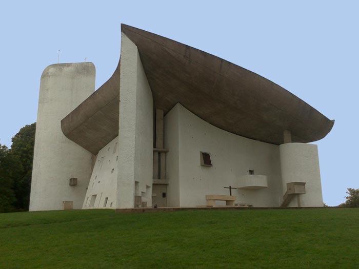<Photo of designer church Notre Dame du Haut, in France'>