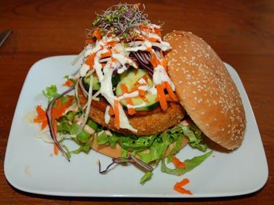 <Photo of a vegie burger at Le Chavinette, La Clusaz, France'>
