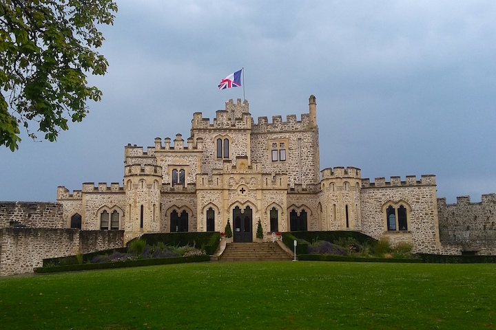 French castle with French-British flag
